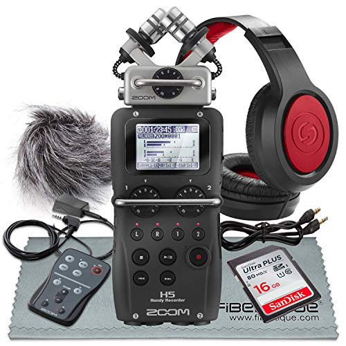 Zoom H5 4-Input / 4-Track Portable Handy Recorder w/Interchangeable Microphone System Including Samson Stereo Headphones and Deluxe Accessory Bundle