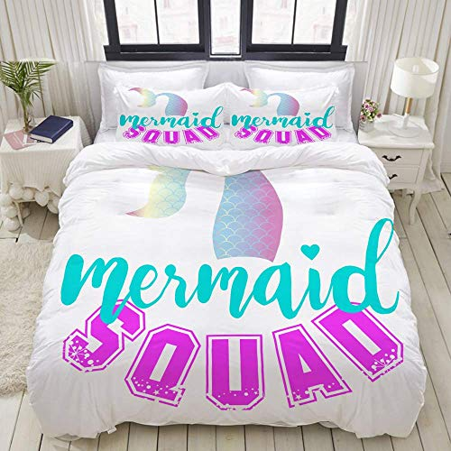 bedding Duvet Cover Set, cute mermaid print t shirt design,Microfibre Duvet Cover Set 200 x 200cm with 2 Pillowcase 50 X 80cm