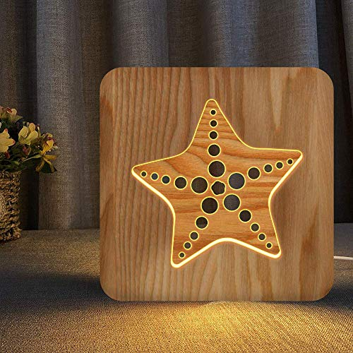 Starfish Wooden Carving Night Light Warm White LED Bedside Table Lamp for Home Room Party Decoration, Creative Nautical Gifts for Men Women Friends Ocean Lovers