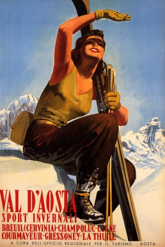 BEAUTIFUL ITALIAN GIRL SKI WINTER SPORT VAL D'AOSTA VALLE D'AOSTE ITALY TRAVEL LARGE VINTAGE POSTER REPRO