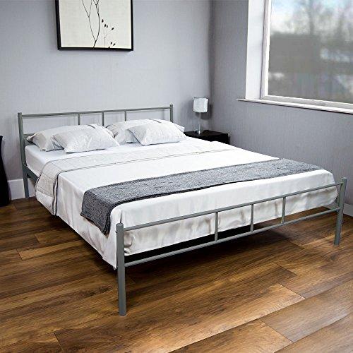 Vida Designs Dorset UK Doppelbett, ca. 135 x 190 cm, Silber