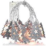 com-four® Cadena de Luces LED - Luz Decorativa con Leds para Navidad - Luces de Hadas con árboles de Navidad de Madera Gris - Guirnalda 170 cm