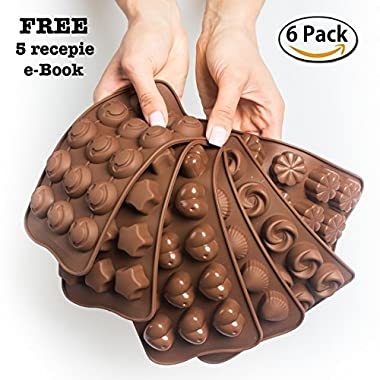 Cake Decorating Chocolate Silicon Molds - Set Of 6 Chocolate Molds - Best For Cake Decorations - Chocolate Candy Molds - Silicone Mold - Hard Candy Molds - Jello Shot Molds