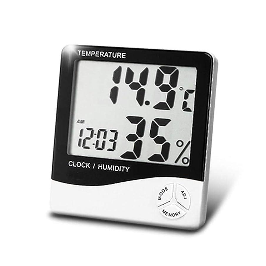 パパエンジンタッチYongFENG デジタル電子サーモ湿度計、高精度屋内温度計、大型ディスプレイ、時刻、アラーム時計、家庭、オフィス、ベビールーム 温湿度計 (Color : A)