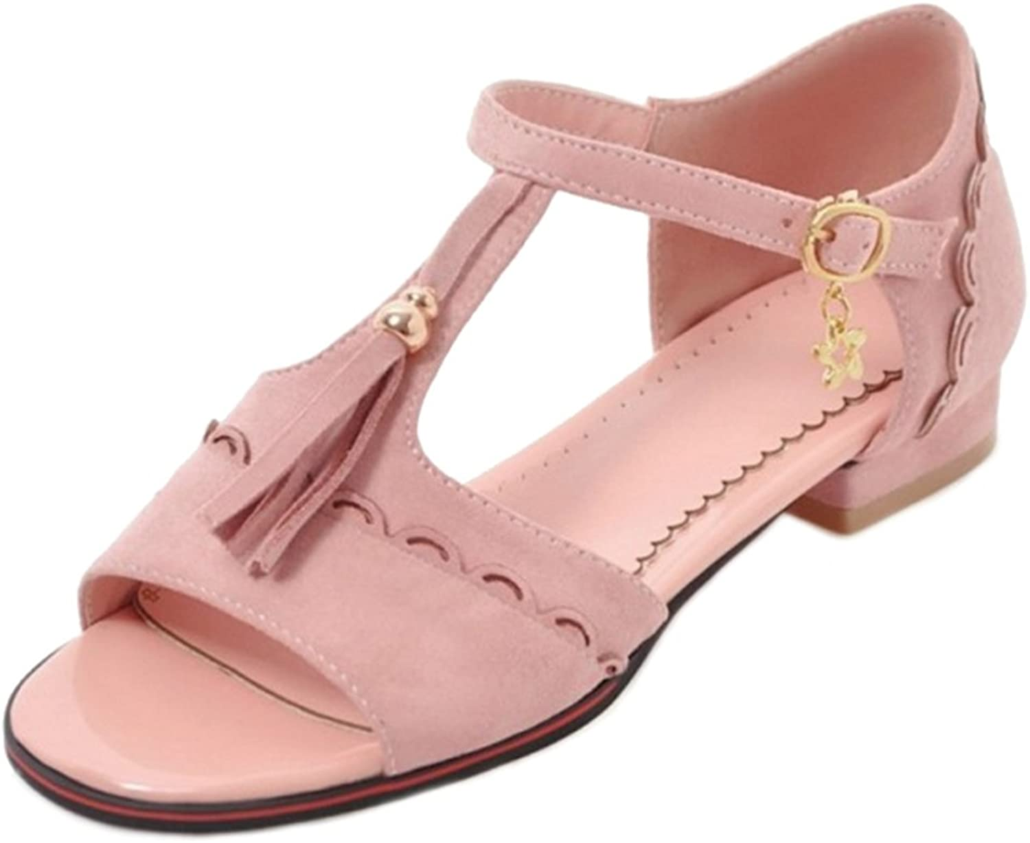 SJJH Casual Sandals with Low Heel and Suede Materail Women Sandals with Large Size Available