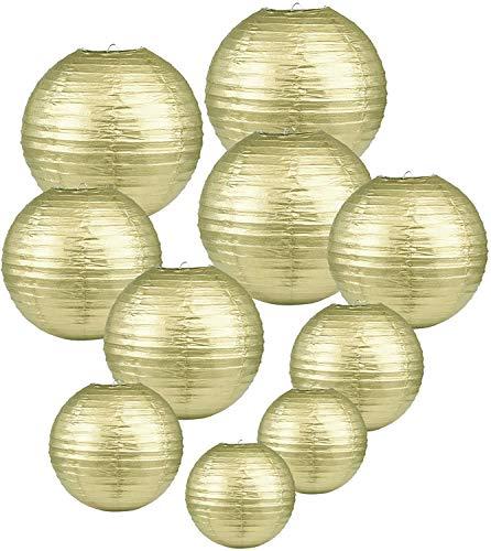 LIHAO goldene Papier Laterne Lampions rund Lampenschirm Hochtzeit Dekoration Papierlaterne - (10er Packung) (Verschiedene Größen) (Verpackung MEHRWEG)…