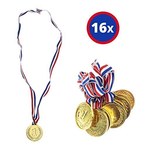 16x Siegermedallien Gold   hochwertige Medallien für Kinder   Goldmedaillen aus Kunststoff mit Band für Sieger Gewinner ideal als Preis Auszeichnung Belohnung zur Party Kindergeburtstag Siegerehrung