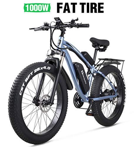Shengmilo e Bike Elektrofahrrad 26 Zoll e-Bike Mountainbike Electric Fahrrad ebike Herren Damen 4.0 Zoll Fetter Reifen 1000W Moto 48V Batterie 21 Gang Doppelte Hydraulische Scheibenbremse (Blau)
