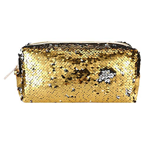 HIKO23 Fashion Make-up Cosmetische Tas | Studenten Potlood Case Glitter | Omkeerbare Zeemeermin Pailletten Kids Pouch Vrouwen Handtas Art Deco 21x8x10.5cm B