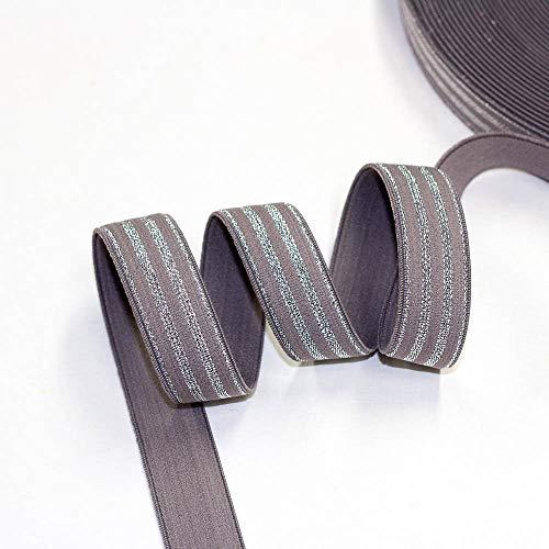 Brittschens Stoffe und Zutaten Elastic-Band gestreift 20mm Galonstreifen, Band zum aufnähen, Streifenband, je 1m (Taupe)