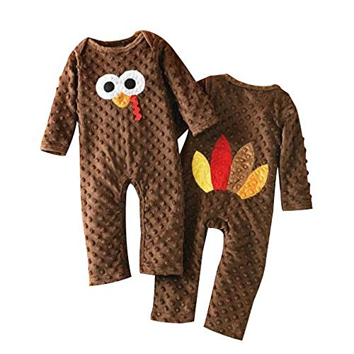 Fiomva Newborn Infant Baby Boy Girl Thanksgiving Romper Turkey Bodysuit Jumpsuit One-Piece Clothes Outfits (Brown, 6-12Months)