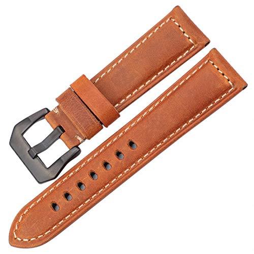 HNGM Correas para Relojes de Hombre 20 mm 22 mm 24 mm 26 mm de Reloj Accesorios Correa señoras de Las señoras de los Hombres Hebilla de Acero (Band Color : Brown Black Buckle, Band Width : 26mm)