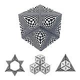 GeoBender - Cubo magnetico 3D 1 x Abstract-2 con 104 variaciones - Juguete antiestres de Rompecabezas niños y Adultos - Juegos de Puzzle de Paciencia Creativo - Infintiy Cube de Jugar de Aprendizaje