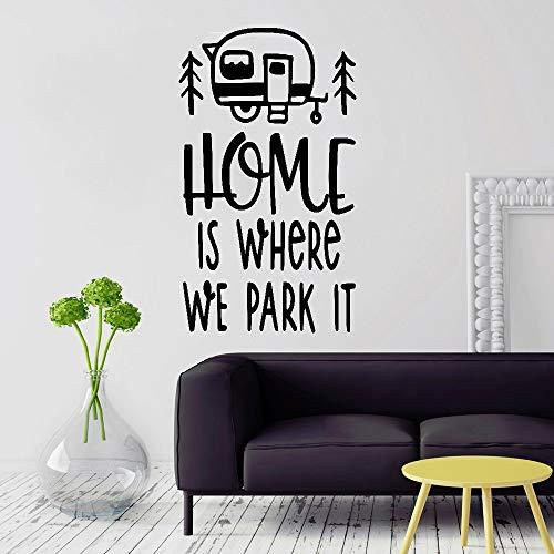 JXMK Travel Wall Sticker Home ist, waar we het parkeren Caravan Creative Trip Quotes Vinyl Muurtattoos Home Decoration Woonkamer Muursticker 98x57cm