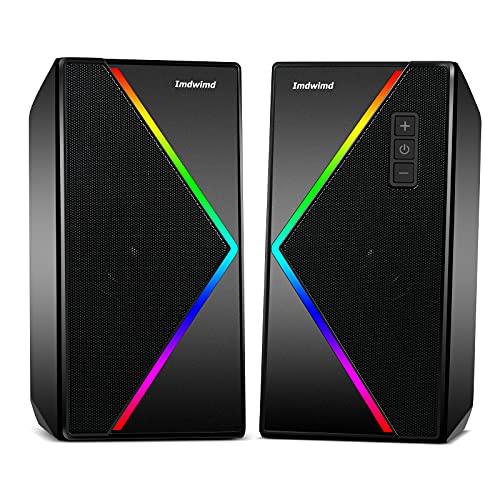 PC Lautsprecher Imdwimd USB Desktop Computer Gaming RGB Lautsprecher mit verbessertem Stereo Buntes 6-Modi-RGB-Licht, 2.0 Zweikanal-Multimedia-Lautsprecher für PC Tablet Computer Laptop Kleinfernsehe