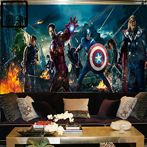 Marvel Avengers Heroes Photo Wallpaper Fotomurale 3d Bambini Ragazzi Arredamento Camera Da Letto Iron Man Hulk Thor Eagle Eye Grande Parete Art