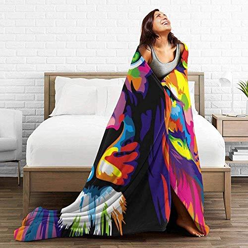 DWgatan Couverture,Couvre-lit de canapé Polyvalent Doux et Chaud de qualité Abstract Colorful Painting Lion Picture Printed Blanket for Bedroom Living Room Couch Bed Sofa -60\
