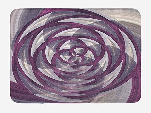 Goodshope Fractal badmat, bol bloeiende bloem roos als gekleurd beeld met verschillende details, non-slip mat voor badkamer bad, 24 W X 16 l inch, paars wit
