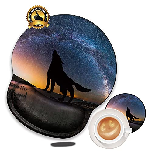 Galaxy Wolf Mouse Pad with Gel Wrist Support- Gaming Ergonomic Mousepad Non-Slip Cute Mouse Mat for Laptop Gaming Matching A Coaster