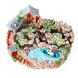 T4U 23CM 田園風景スタイル 家&農場 プラスチック鉢 多肉植物鉢 サボテン鉢 鉢のみ フラワーポット プランター容器 DIY素材 庭 オレンジ色