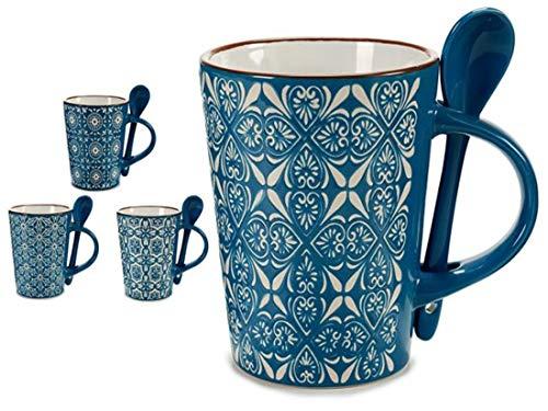 ARTE REGAL Taza Jarra Mug 34cl con Cuchara Azul Surtido A Elegir 1