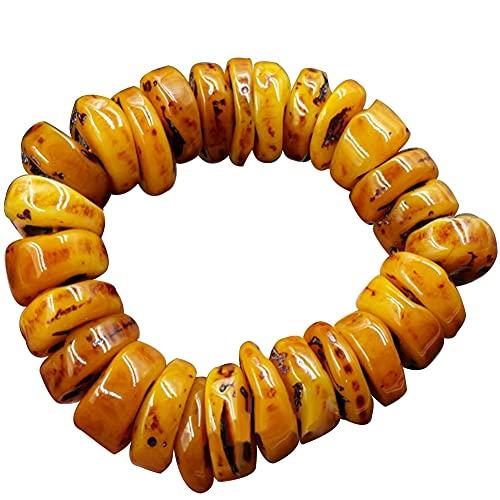 xinying Pulsera de cera de abejas de ámbar natural con cuentas de ábaco de piedra antigua, accesorio de joyería de mano, regalo para hombres, brazalete amarillo (color de la gema: estilo-1)