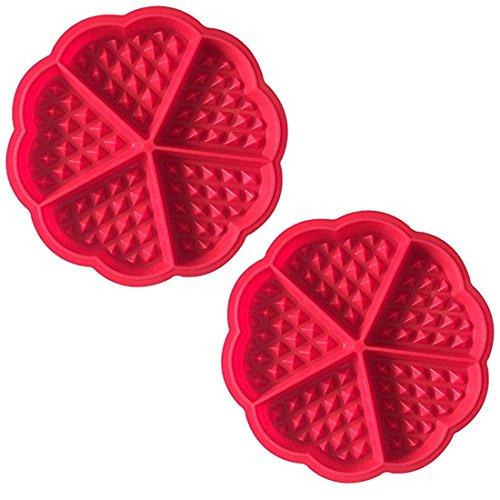 2x Demarkt Waffelform Waffel Backform Silikonbackform Backform mit guter Antihaftbeschichtung rot