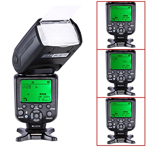 Neewer E-TLL Master/Slave Camera Flash for CANON ~Master Wireless Control~High Speed Sync Speedlite EOS 5D Mark III II 2 3 1Ds 6D 7D 60D 50D 40D 30D 300D 100D 350D 400D 450D 500D 550D 600D 650D 700D 1000D 1100D/EOS Digital Rebel, SL1, XT, Xti, Xsi, T1i, T2i, T3i, T4i, T5i, XS, T3 SLR Cameras NW982C-II