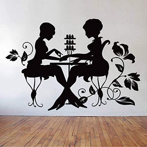 HRUIO Nagellack Maniküre Pediküre Wallpaper Re Aufkleber für Schönheitssalon Home Wohnzimmer Art Decor Vinyl Poster Wandbilder 86 * 57Cm