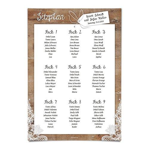 1 x Hochzeit Sitzplan Plakat Sitzordnung individuell - Rustikal mit weißer Spitze