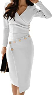Happy Saield Women Wear to Work Dresses V Neck Ruched Button Design Irregular Wrap Office Dress S-XL