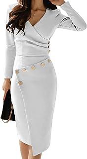 Aleumdr Vestito Donna con Collo V Profondo Abito da Cocktail Donna Solido Vestiti Donna Invernali