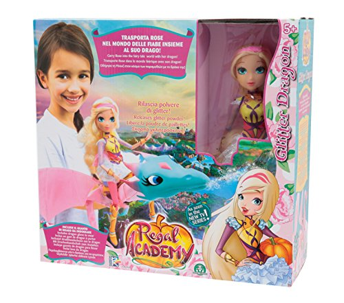 Giochi Preziosi Regal Academy Drago Glitter con Bambola Rose, Multicolore, REG13000
