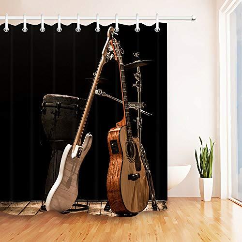 Instrument Akustikgitarre Drum HD-Druck, wasserdichter Duschvorhang für das Badezimmer, 12 Haken kostenlos, 180x180cm