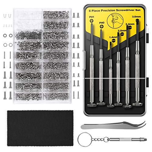 Eyeglass Repair Kit,Hiketolight Sunglasses Repair Kit with 1100pcs Eyeglass Screws Include Nose Pads, Precision Screwdriver Set and Tweezers for Eyeglasses, Sunglasses,Watch Clock Spectacle Repair