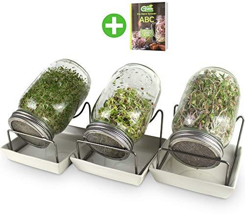 GreenSeeds Sprossenglas Keimglas 3er Set 1000ml mit hochwertigem Edelstahl-Gitterdeckel, Ständer, Keramikschale + GRATIS Sprossen-ABC