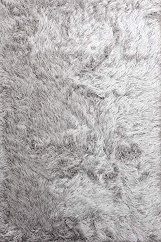 Hochflor Shaggy Teppich Prestige Silber grau 160x230 cm - superweicher Flauschiger Langflor Teppich