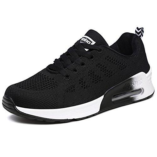 Mujeres Zapatillas Deportivos de Running Sneakers Zapatos Air Corrientes Ligero Deportivos Zapatos Respirables Que Caminan Ocasionales para Fitness Atlética, Negro, 38 EU
