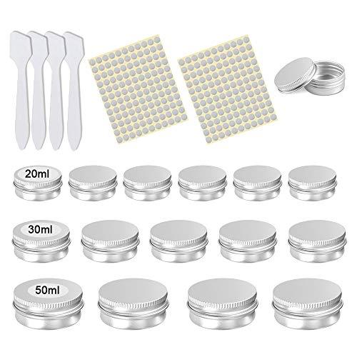 XAVSWRDE Botes de Aluminio 20ml 30ml 50ml, Envases para Cosmética, Tarros de Aluminio Vacío con Tapa, 32 Contenedoros de Cosméticos, 264 Pegatinas Redondas Plateadas 13mm, 4 Espátulas de Maquillaje