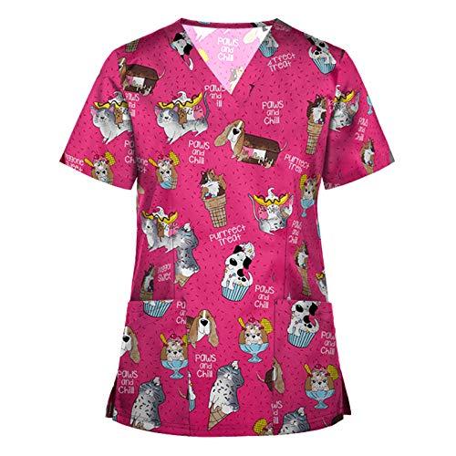 Writtian Uniforme Sanitario Mujer Ropa Trabajo Pijama Medico Enfermera Estetica Peluqueria Veterinaria Casaca Manga Corta Sanitarias Mujer Manga Corta Cuello V para Enfermeras, Dentistas