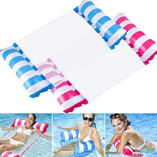 Schwimmbare Wasser-Hängematte Aufblasbarer Pool-Schwimmer Tragbare 4-IN-1-Mehrzweck-Schwimm-Hängematte für Erwachsene Pool-Schwimmer und Liege 2er-Pack