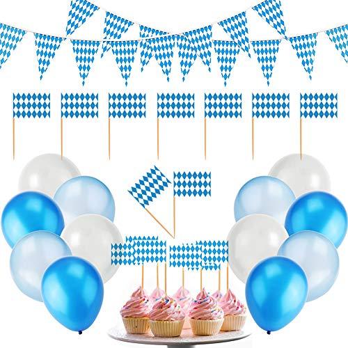 Oktoberfest Dekoration Set 10m Bayrisch Wimpelkette 12 blau weiß hellblau Luftballons 50 Flaggenpicker Topper, Oktoberfest Party Deko Dekoration