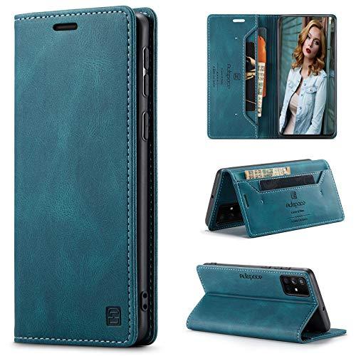 CaseNN Funda para Samsung Galaxy A51 4G Carcasa con Tarjetero Fundas Tapa Libro de Cuero PU para Mujeres Hombres Premium Magnético Suporte con Bloqueo RFID Silicona Proteccion Delgado - Azul-Verde