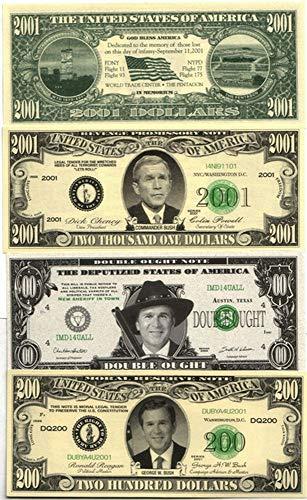 2001 3 DIFF GEORGE W. BUSH FUNNY MONEY BILLS incl XXX-RARE $200 SPENT at DAIRY QUEEN! Crisp Uncirculated (Best Money Making Methods Runescape)