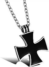 BOBIJOO JEWELRY - Cadena y Cruz Colgante, Negro Cruz de Malta Celta de Acero Inoxidable de Caballero Templario