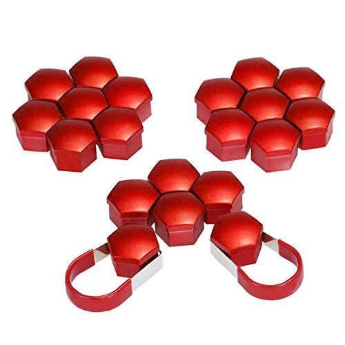 Cikuso, 20 Tappi in plastica per bulloni, Dadi e Cerchi in Lega da 17 mm, per Skoda, Audi, Mercedes, BMW, Colore: Rosso