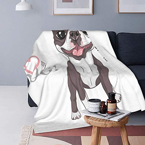 Felpa Manta de Tiro para Todas Las Estaciones Suave Ligero Calentar,Toro Sonriendo Perro Raza Boston Terrier Pie Rata Animal Americano Negro,Manta de Cama Edredón de Viaje para Sofá Cama,50' X 60'