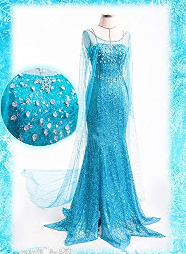 WSJDE Ventas Elsa Queen Mujeres Adultas Vestido de Traje Cosplay Flowery Fancy Party Gown Vestidos Vestido Azul Ropa de Mujer Sexy XL Azul