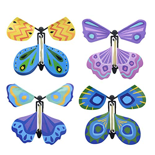 Miokycl 4 Stück Fliegender Schmetterling Bunt Magie Magic Flatternde Spielzeug zum Aufziehen mit Gummiband für tolle Überraschung, Hochzeit, Geburtstag, Geschenk