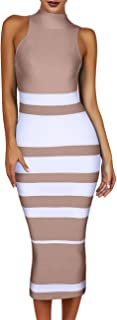 Maketina Womens High Neck Sleeveless Stripe Casual Long Bodycon Bandage Dress